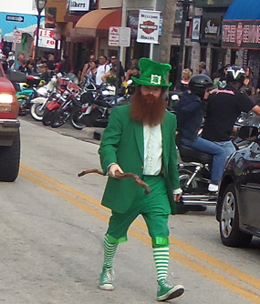 Leprechaun on Main St. for Bike Week 2013